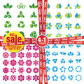 Set of icons on the nature theme water leaf flowers special offer in package big sale Royalty Free Stock Photo