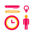 Set of icons for office work red and yellow colors Royalty Free Stock Images