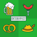 Set of icons for Oktoberfest with beer mug, hat, sausage and brezn. Thin line flat design. Vector
