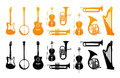 Set Icons of Orchestral Musical Instruments Royalty Free Stock Photo