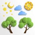 Set Of Icons. Paper Cut Design...