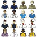 Set of icons of people representing different professions with a hand drawn look graphics are grouped and in several layers for Stock Photo