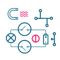 Set of icons of physical processes line art Stock Images