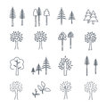 Set of icons pine and deciduous trees