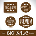 Set icons Premium quality best choice labels on wood textured