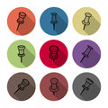 Set of icons pushpins, vector illustration. Royalty Free Stock Photo