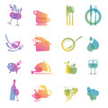 Set of icons for restaurants Stock Image