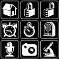 Set of icons (safety, time, devices, electronics) Stock Photo
