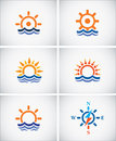 Set icons of sea navigation. Royalty Free Stock Photo