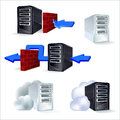Set of icons server proxy cloud in silver and black colours Royalty Free Stock Images
