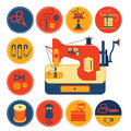 Set of icons with sewing and tailoring symbols. Royalty Free Stock Photo