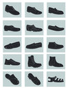Set icons silhouettes mens shoes Royalty Free Stock Image
