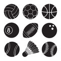 Set of icons silhouettes of sports balls