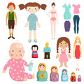 Set icons small girls dolls playing with toys handmade happy children character and game gift dolly cute play baby Royalty Free Stock Photo