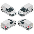 Set of icons small truck for transportation cargo. Van for the carriage of cargo. Delivery car. Vector 3d isometric