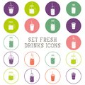 Set of icons - smoothie, coffee to go, frappe, juice, cocktail, lemonade,  mason jar, other fresh drinks, bottle. Royalty Free Stock Photo