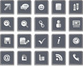 Set icons social networking positioned on a glass round buttons topic networks Stock Photos