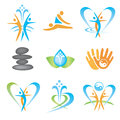 Set icons spa massage yoga health symbols vector illustration Stock Photo