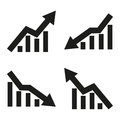 Set of icons of statistic arrow. Vector illustration Royalty Free Stock Photo