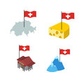 Set  icons Switzerland. Map and cheese, Bank and Alps. Vector il Royalty Free Stock Photo