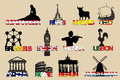 Set of icons symbols capitals europe vector illustrayion symbol Royalty Free Stock Photos