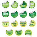 Set of icons with text about natural products. Royalty Free Stock Photography