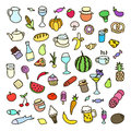 Set of icons on the theme of food different dishes and cuisines beautiful vector design Royalty Free Stock Photography