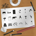 Set of icons on the theme of furniture and interior design.