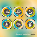 Set of icons on a theme of summer holidays by the sea Stock Image