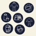 stock image of  A set of icons for tourism products or communities or sites dedicated to hiking and various sports, including water