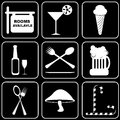 Set of icons transport travel rest white on a black bacground Stock Photos