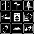 Set of icons transport travel rest white on a black bacground Stock Image