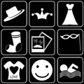 Set of icons transport travel rest white on a black bacground Royalty Free Stock Photo