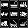 Set of icons transport travel rest white on a black bacground Royalty Free Stock Photography