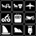 Set of icons transport travel rest white on a black bacground Royalty Free Stock Images