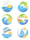 Set icons -- travel & vacation Stock Images
