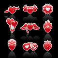 Set icons of Valentine's day red hearts Royalty Free Stock Images