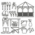 Set of icons for a vegetable garden.