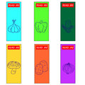 Set icons of vegetables on bookmark aper mixcolor paper Royalty Free Stock Image