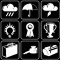 Set of icons (weather, champion, others) Stock Photo