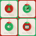 Set iii of greeting cards christmas ball four about Royalty Free Stock Photography