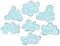 Set illustrated cartoon clouds Stock Photos