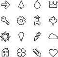 Set of illustrated icons a simple black on white or graphics Stock Photography