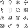 Set of illustrated icons simple black on white or graphics Stock Photography