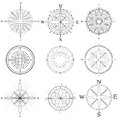 Set illustration of artistic compass vector abstract drawings for area map Stock Photos