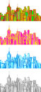 Set illustration of cityscape vector graphics the city available in colors Royalty Free Stock Photography