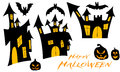 Set illustration for halloween with castle bat and black pumpkin Royalty Free Stock Photo