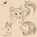 Set of illustrations animals. Wild. Forest. Monochrome.