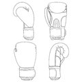 Set of illustrations with boxing gloves.