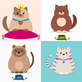 A set of illustrations with cats.